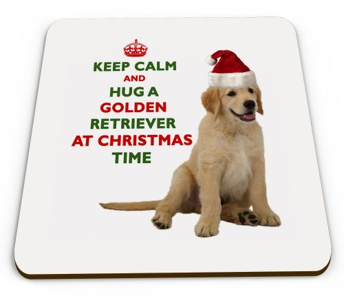 Christmas Keep Calm And Hug A Golden Retriever Novelty Glossy Mug Coaster